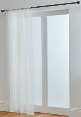 "Lucy Extra Long White Voile Curtain Panel With Slot Top 118"" (300cm) 3m Drop"