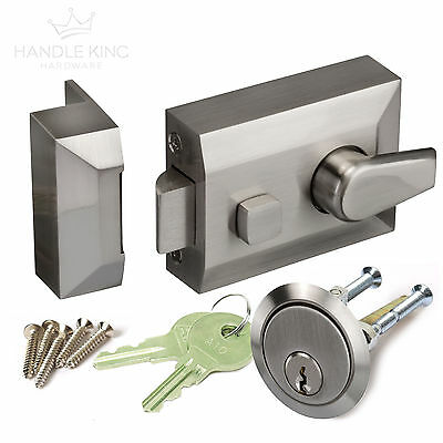 Night Latch Front Door Lock with Standard 60mm Backset - Brushed Chrome Finish