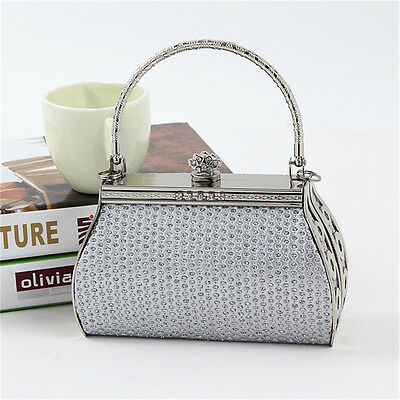 Silver New Women PU Leather Evening Party Bag Rhinestone Clutch Handbag Purse
