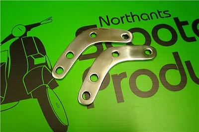Stainless Steel Mirror/flyscreen Brackets Pair Fits Vespa Px 125 200
