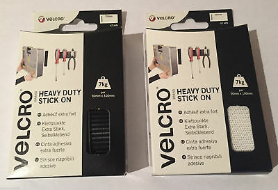 VELCRO® Brand Heavy Duty Stick On Strips x2 - Black or White - 50 x 100mm