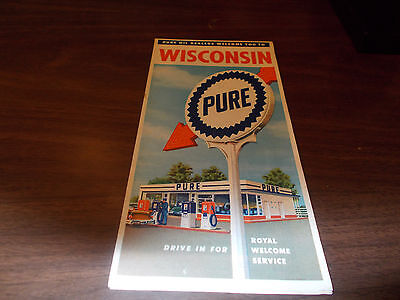 1959 Pure Oil Wisconsin Vintage Road Map
