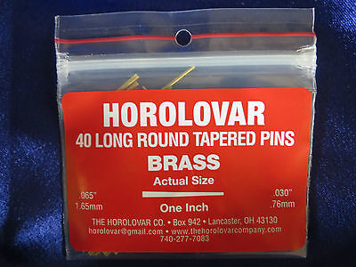 "40 Brass Tapered Pins - 1""x.065""x.030"" Clock Repair - Horolovar"