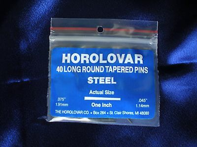 "40 Steel Tapered Pins - 1""x.075""x.045"" Black Oxide Clock Repair - Horolovar"