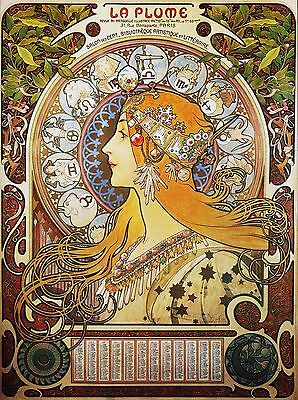"Alphonse Mucha Zodiac Art Nouveau Painting 12.5""x16.7"" Real Canvas Art Print"