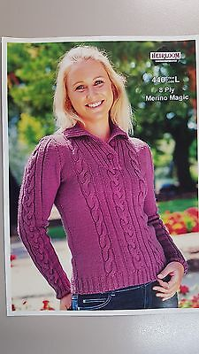 Heirloom Knitting Pattern #440 to Knit Ladies Cable Jumper in 8 Ply Yarn