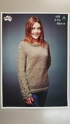 Heirloom Knitting Pattern #458 to Knit Ladies Jumper with Lace Sleeve 8 Ply Yarn