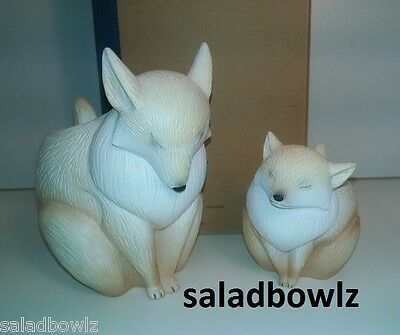 PARTYLITE New MAMA & BABY FOX CANDLE HOLDERS P92020 Adorable! InStock fREEsHIP!