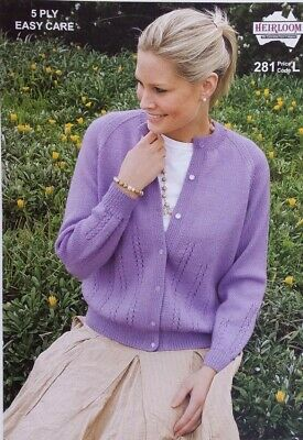 Heirloom Knitting Pattern #281 to Knit Ladies Cardigan in 5 Ply