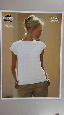 Heirloom Knitting Pattern #295 to Knit Ladies Short Sleeve Cotton Top in 8 Ply