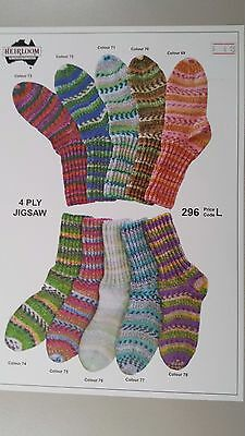 Heirloom Knitting Pattern #296 to Knit Socks for Kids & Adults in 4 Ply