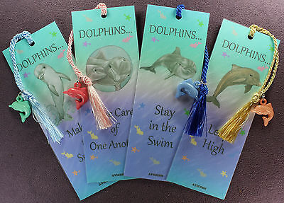 4 DOLPHIN BOOKMARKS SET Porpoise Bead Tassel Art Fish Marine Blue Green Laminate