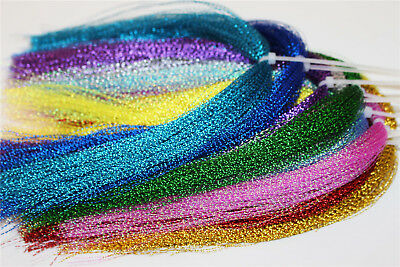 17 Packs Flashabou Holographic Tinsel Crystal Flash String Fly Tying Materials