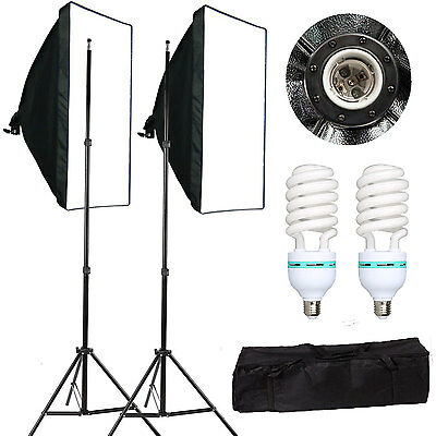 Photography Studio 2x135W Soft Box Continuous Lighting Softbox Light Stand Kit