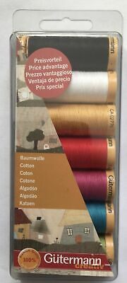 Gutermann Cotton Thread Set - ALL PURPOSE SEWING - 7 REELS 100m ASSORTED COLOURS