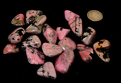 Rhodonite tumbled Stones 1/2 pound from South Africa (10220)