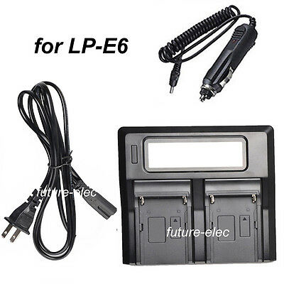 LCD Double Dual Channel Digital LP-E6 LPE6 Battery Charger for 7D 6D+Car Charger