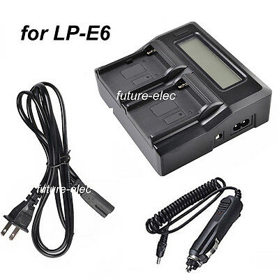 Double Dual LP-E6 LPE6 LCD Battery Charger for Canon 70D 60D 5D2 5D3+Car Charger