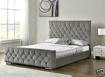 Diamond Upholstered Fabric Bed Frame Velvet Chenille Double King Size Mattress
