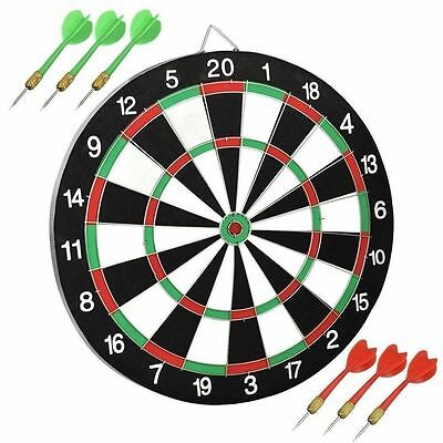 Dartboard Game Gift Set With 6 Red & Green Darts Kids Play Hit Target Board Fun