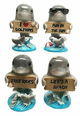 Ocean Marine Set of 4 Dolphins Holding Funny Signs Figurine Dolphin Fish Statue