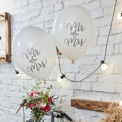 Mr and Mrs Balloons, White, Boho, Vintage Wedding Decoration - Pack of 10