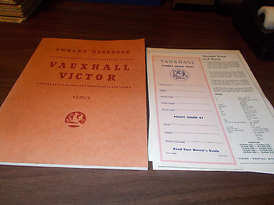 1958 Vauxhall Victor Owner's Manual with Unused Service Policy / MINT condition