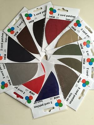 HKM Cord Patches x 2 Oval - Elbow Knee Iron On - Assorted Colours