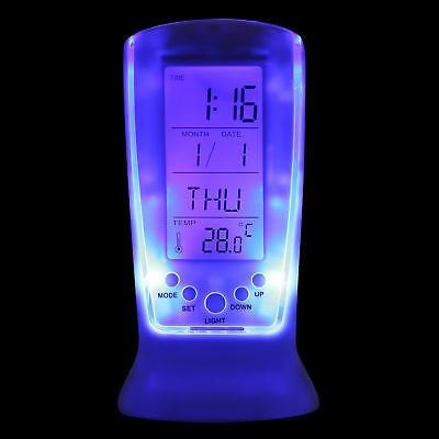 US SHIP Digital Backlight LED Display Alarm Clock Snooze Thermometer Calendar