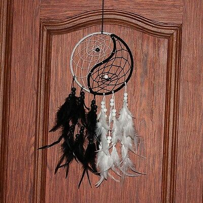 Vintage Yin Yang Yinyang Dream Catcher Feathers Wall Hanging Bedroom Gifts