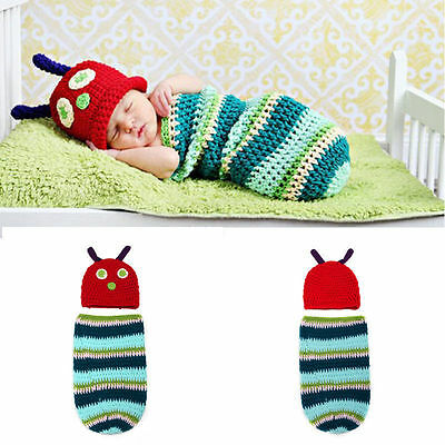 Handmade Crochet Hungry Caterpillar Baby Cocoon Hat Swaddle Sleeping Bag Clothes