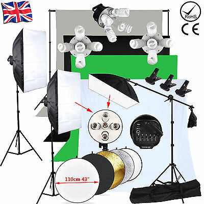 Photography Studio Softbox Continuous Lighting Soft box Light Stand Kit Set UK