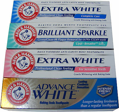 4 x ARM AND HAMMER TOOTHPASTE - EXTRA WHITE, SENSITIVE, ADVANCED & CAVITY CARE