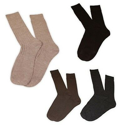 6 Pairs Mens Aler Lambswool Blend Assorted Brown Socks Winter Essentials Formal
