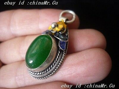 The ancient nobility to wear fine silver inlay cloisonne jade pendant A25