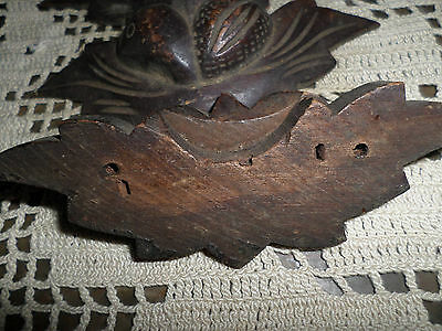 "Antique Walnut 5"" Leaf & Nut Drawer Pull Handle Nice Patina"