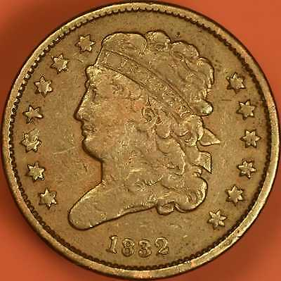 1832 Classic Head Half Cent Choice Fine