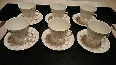 Vintage Set of 6 Russian Lomonosov Porcelain Coffee cups and Saucers