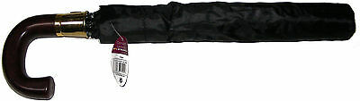 Mens Gents Womens Ladies Black Automatic Umbrella With Wood Effect Crook Handle