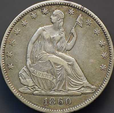 1860-O Seated Liberty Half Dollar Almost Uncirculated
