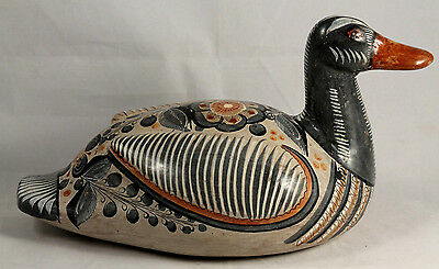 Vintage Mexican Ceramic Duck Mexico Handmade/Painted Folk Art Collectible Large