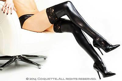 Hot Lingerie Hosiery Wet Look Stay Up Lace Top Stockings Thigh Highs Adult Women