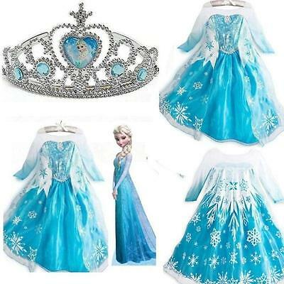 Kids Girls Dresses Frozen Elsa dress costume Princess Anna party dress gift 2-9T