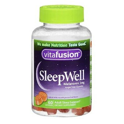 Vitafusion SleepWell Gummy Sleep Aid for Adults, White Tea & Passion Fruit 60 ea