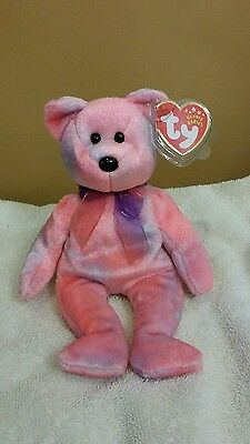 Ty Beanie Baby CLUBBY 5TH ANNIVERSARY the Pink Teddy Bear 2002, Retired & New
