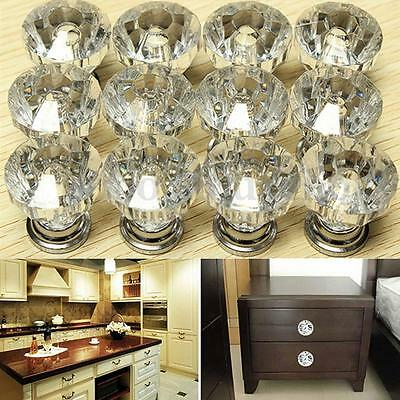 12Pcs Crystal Door Knobs Drawer Cabinet Furniture Kitchen Handle Cupboard