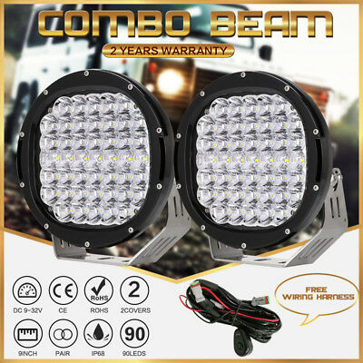 Combo Beam 99999W Pair 9inch CREE Round LED Driving Lights OffRoad BLACK Truck