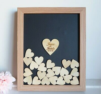 Personalised Wooden Wedding Guest Book drop box frame, 60 hearts +base