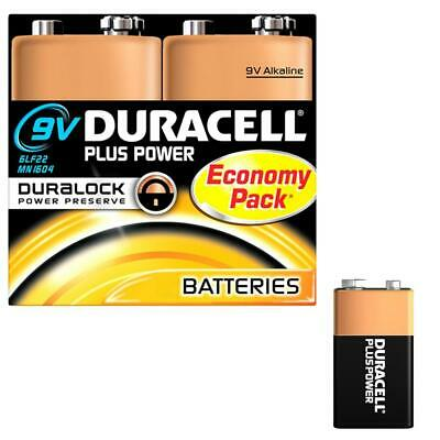 4X Duracell 9Volt Alkaline Batteries PP3 9V PLUS POWER Battery For Smoke Alarms