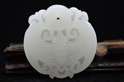 100% Chinese  Hand carved natural white Jade Statue Pendant  Bat 福